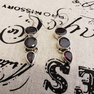 Geniune Garnet 3 Drop Earrings in .925